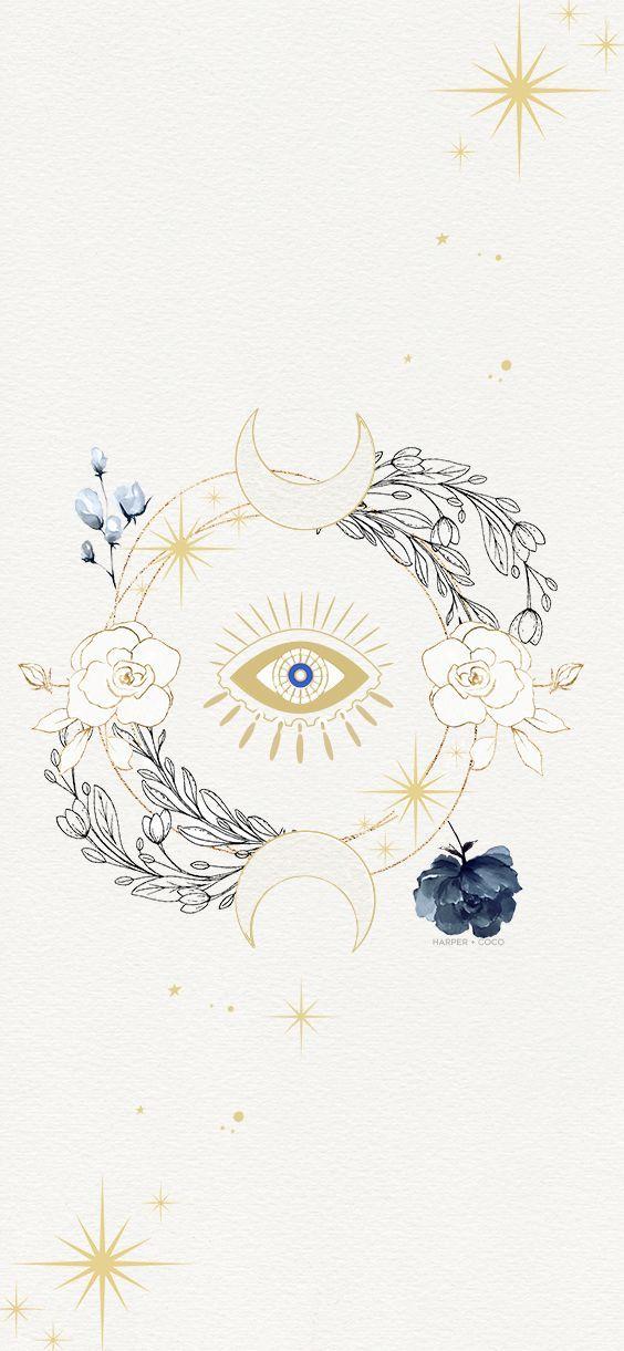 Evil eye gold print, bohemian poster, black gold turquoise wall art, evil eye, Spiritual Art,…