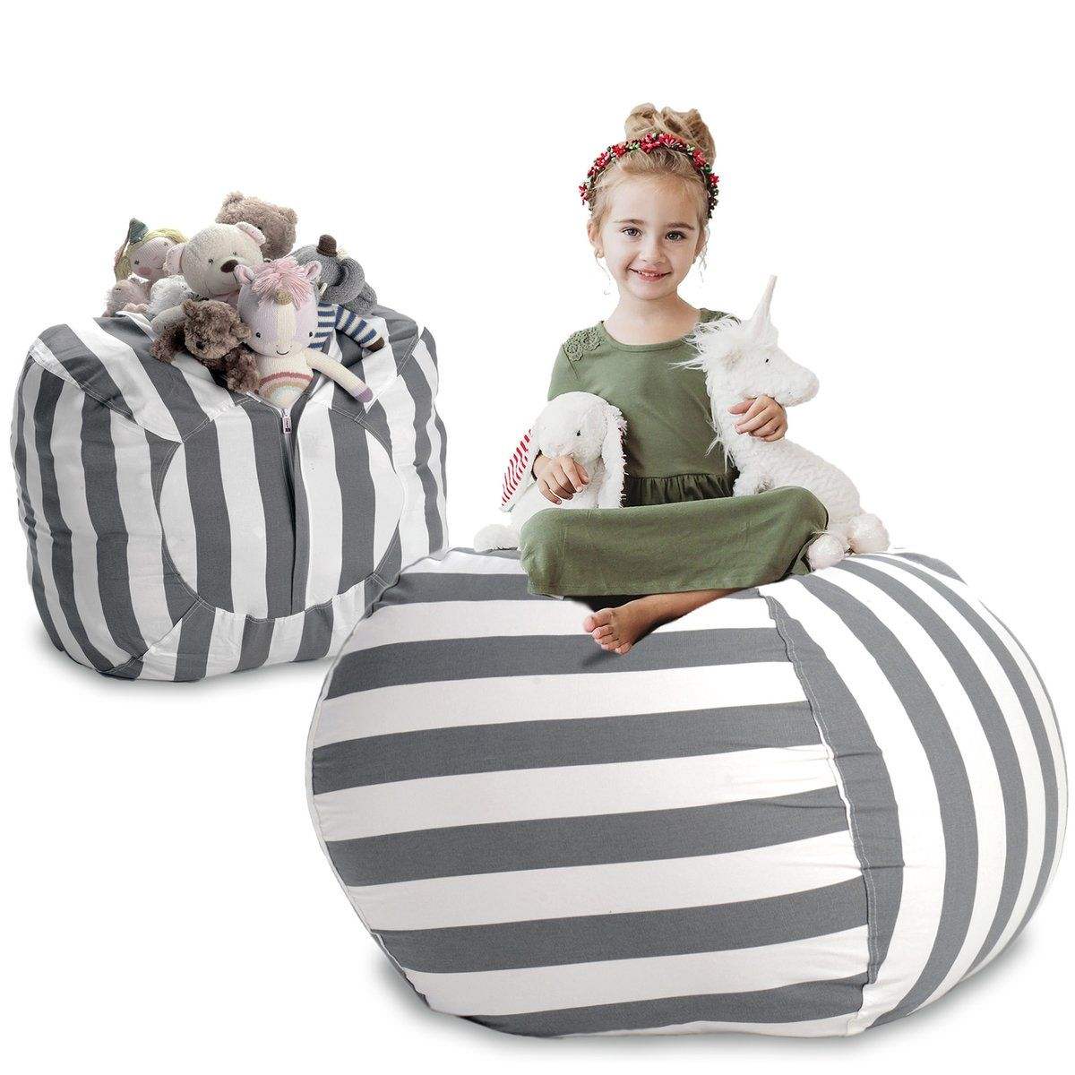 Extra Large Stuff N Sit Available In 10 Patterns Stuffed Animal Storage Bean Bag Chair Kids Toy Organization