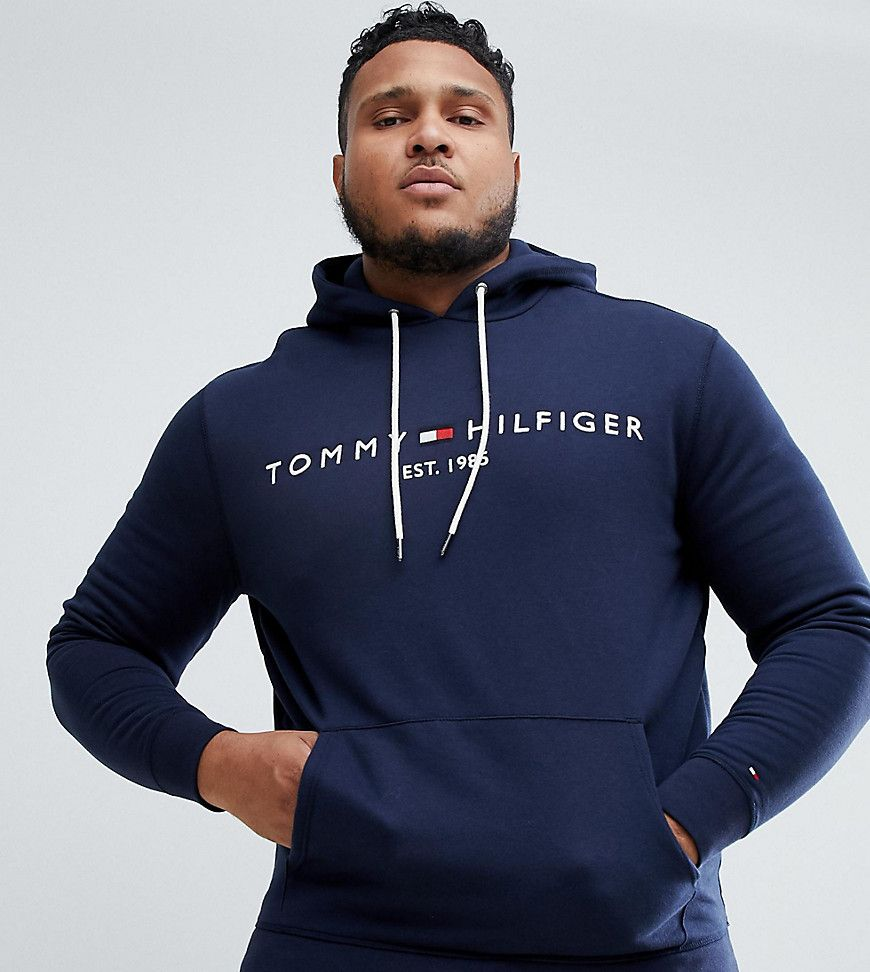 f4e71c0a TOMMY HILFIGER BIG & TALL CHEST EMBROIDERED LOGO HOODIE IN NAVY - NAVY. # tommyhilfiger #cloth #