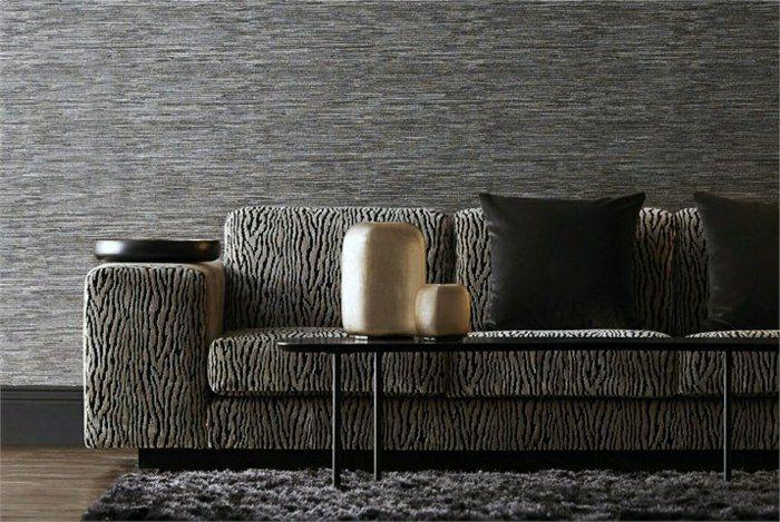 Wohnzimmer Ideen - graue Wände Sofa Polsterung Holztisch goldene - tapeten wohnzimmer grau