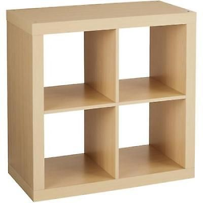 4 Cube Organizer Storage Book Bookshelf Wood Shelf Unit Stand Home Office Birch Cubby Storage Cube Organizer Cube Storage