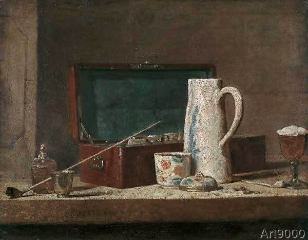 Jean-Baptiste-Siméon+Chardin+-+La+tabagie+(Pipes+et+vase+à+boire)