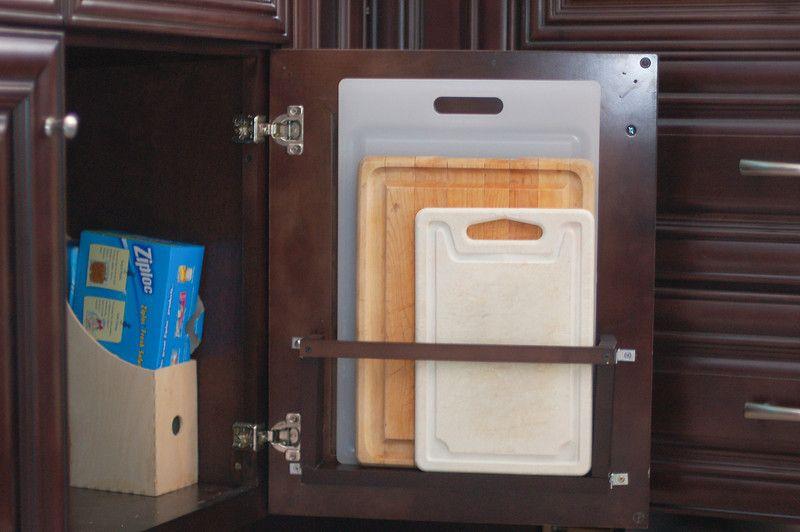 behind-the-door vertical cutting board holder