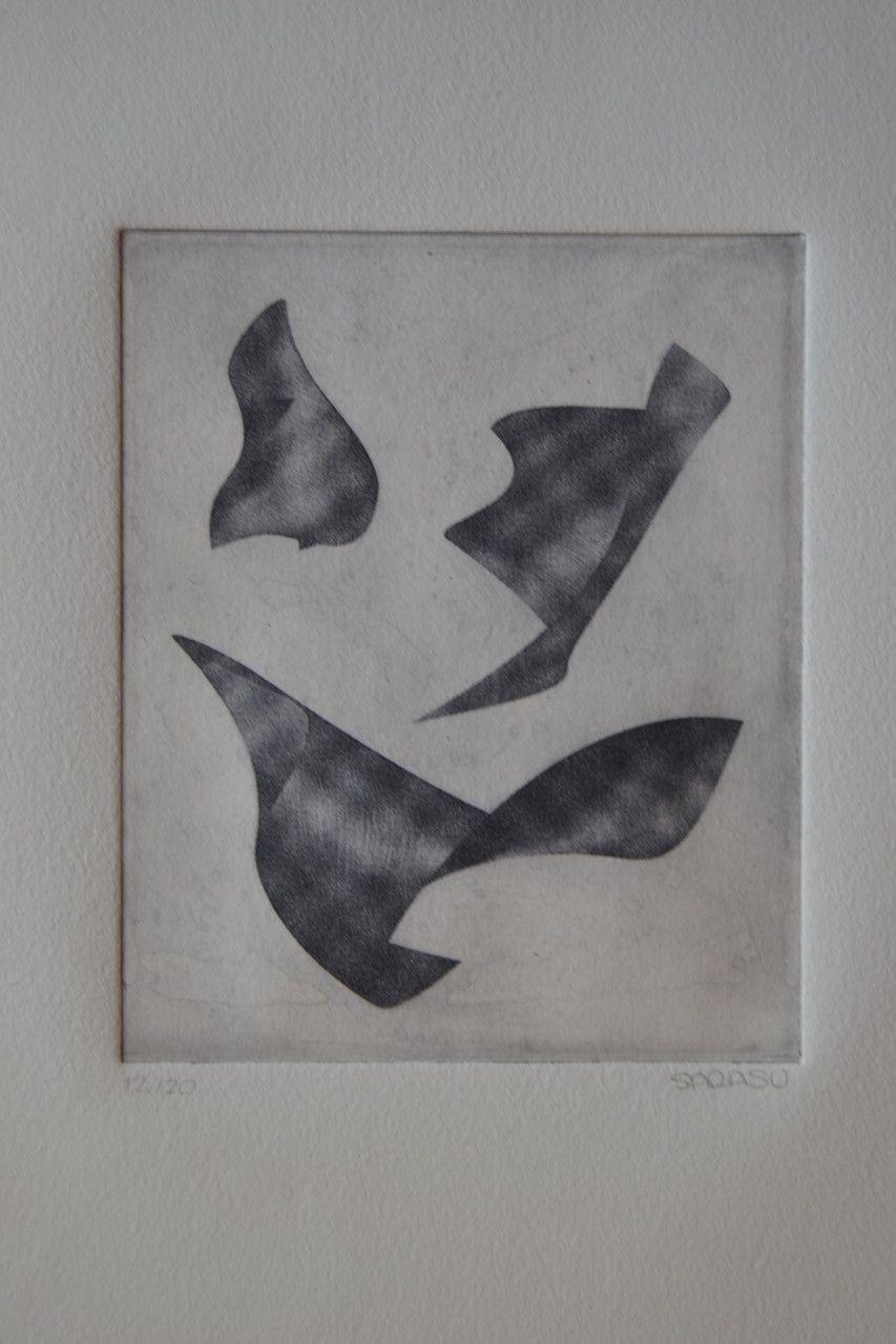 Formas simultáneas. Grabado. 14,7x11,7 cm. Sara Salguero, 2014