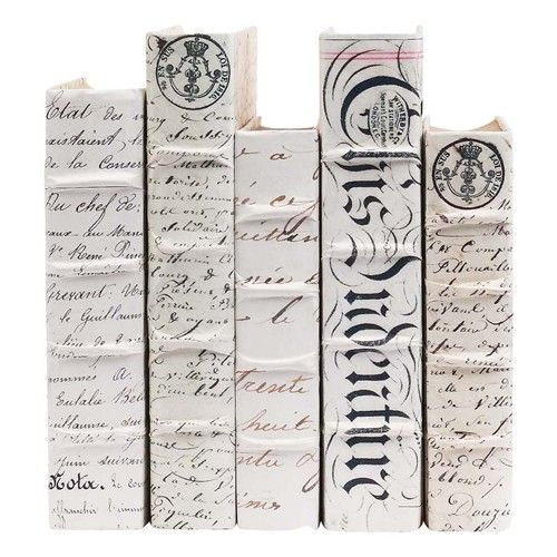 Antique Script Set Of Five Hand Bound Book Covers