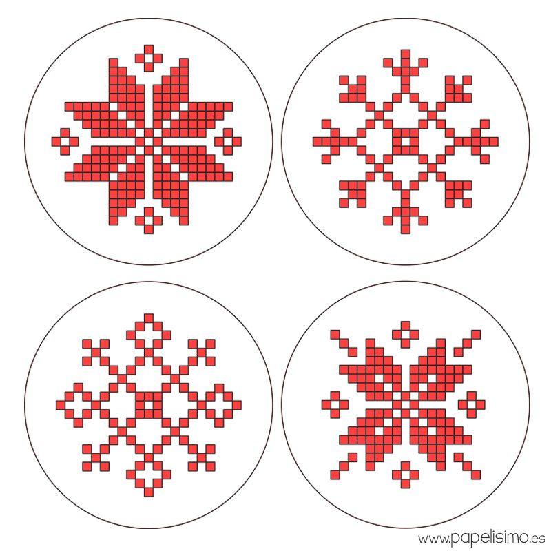 Copos-de-nieve-punto-de-cruz-cross-stitch-hama-beads-Snowflakes ...