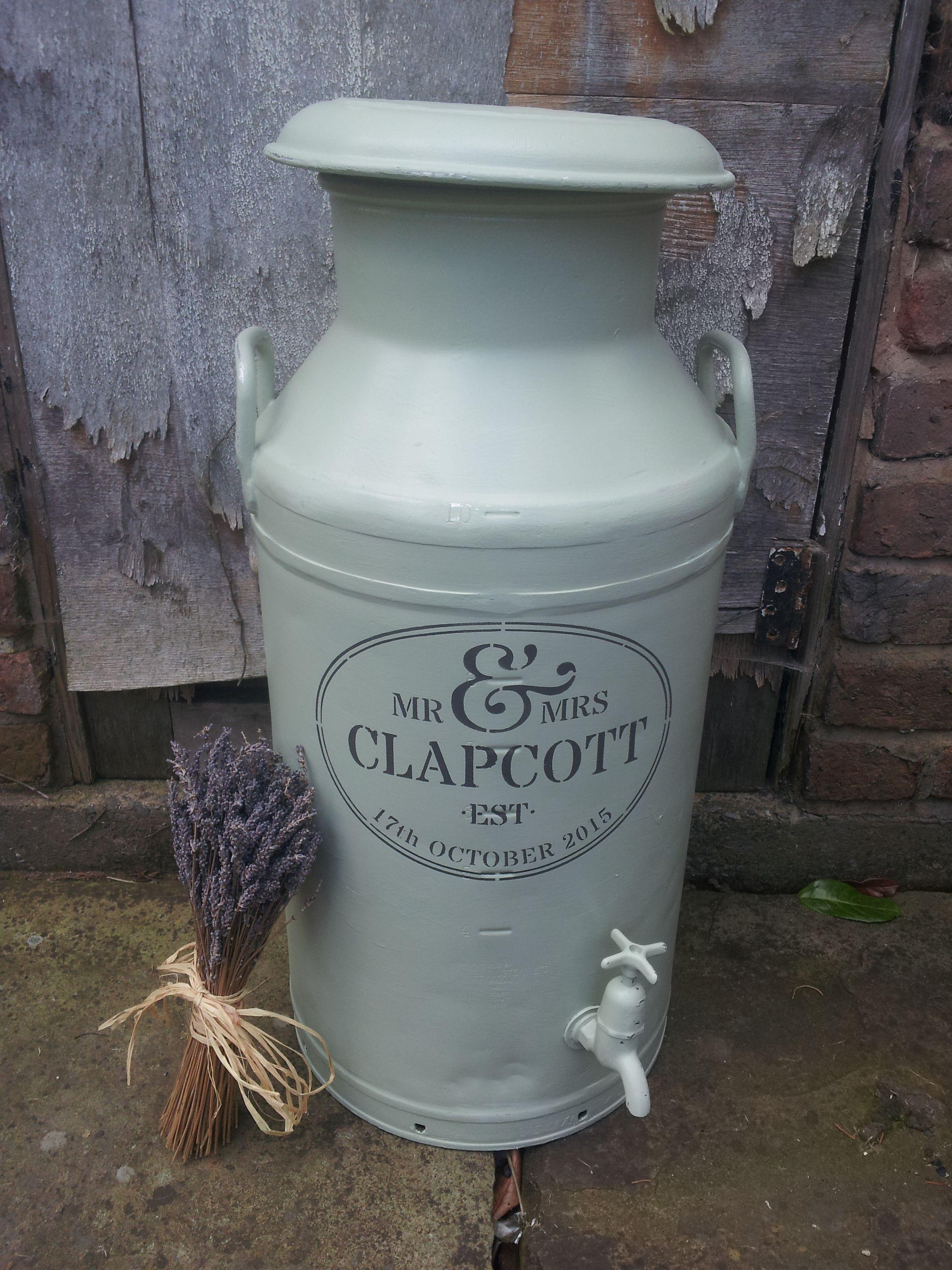 Painted And Stencilled Milk Churn Wedding Milk Churn By Farmhouse Vintage Old Milk Cans Milk Churn Wheelbarrow Decor
