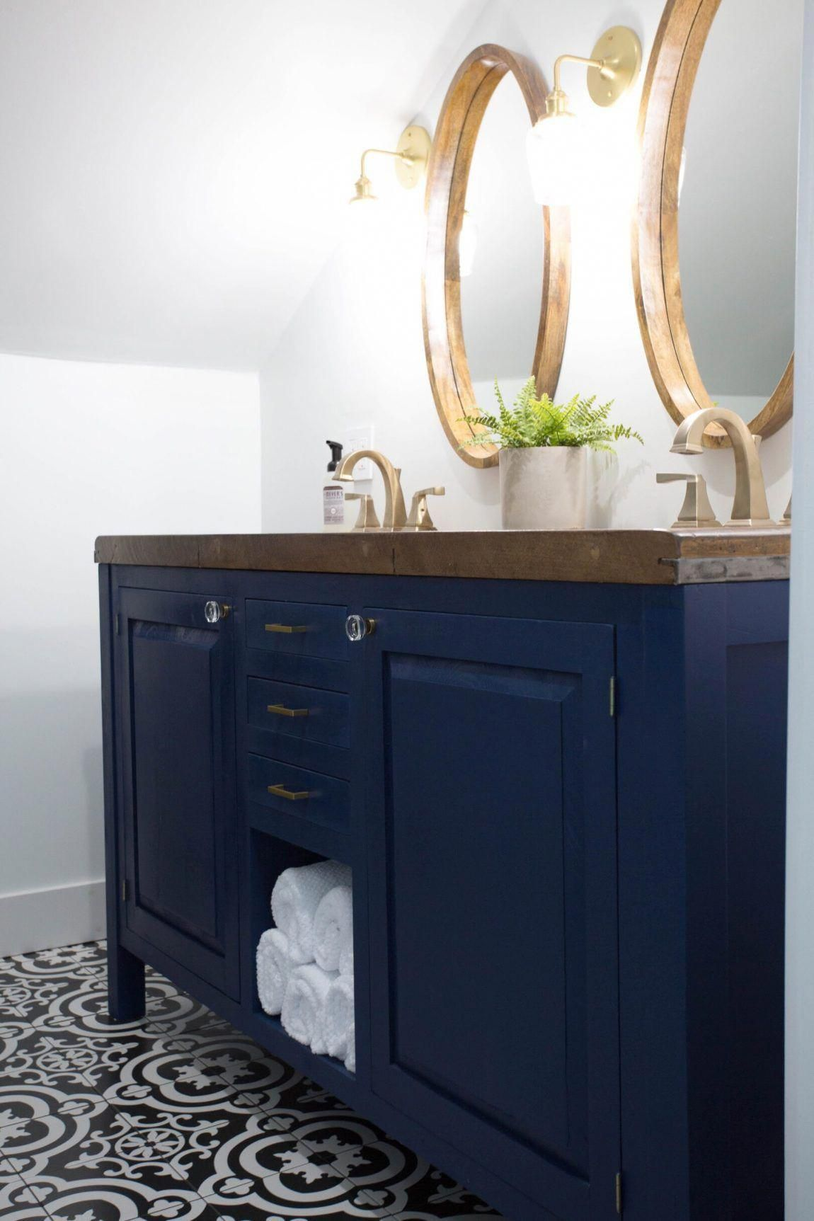 Modern Farmhouse Entryway Design Ideas Clark Aldine Navy Blue Vanity Navy Blue Bathroom Van Gold Bathroom Fixtures Blue Bathroom Vanity Bathroom Fixtures