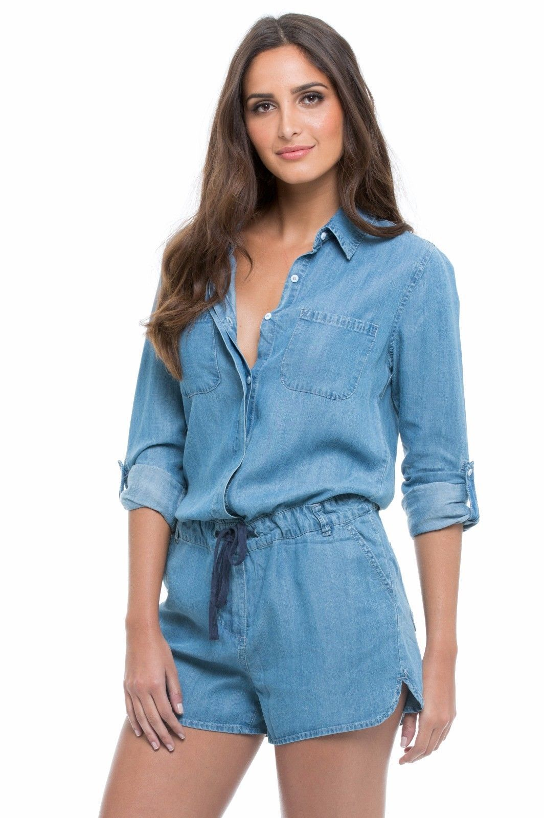ea134201b19f Elan Tencel Long Sleeve Denim Romper W Convertible Sleeve Tie Waist  (Vt7075) S-L