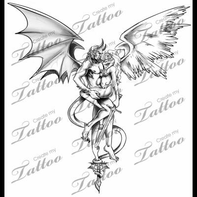 Good Vs Evil Tattoos Good Vs Evil Connected Createmytattoocom