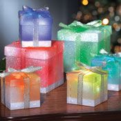 Set of 6 Color Changing Gift Box Ornaments