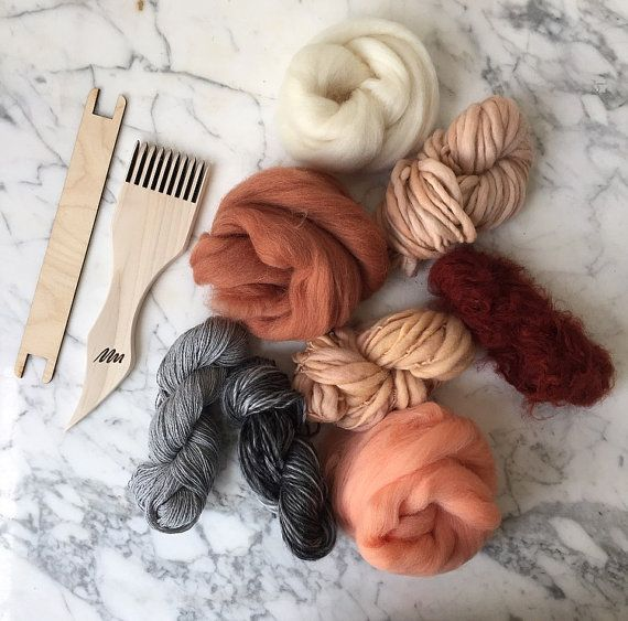 Weaving pack including enough materials for 1-2 projects. Includes 1 cone of warp. Roving, hand dyed and hand spun and recycled fibre. Colours include grey, blush, peach, terracotta and neural. SHIPPING FROM NEW YORK  **OUR RETURN POLICY** We offer full refunds within 1 WEEK from your purchase date. After the first week we only offer store credit.**