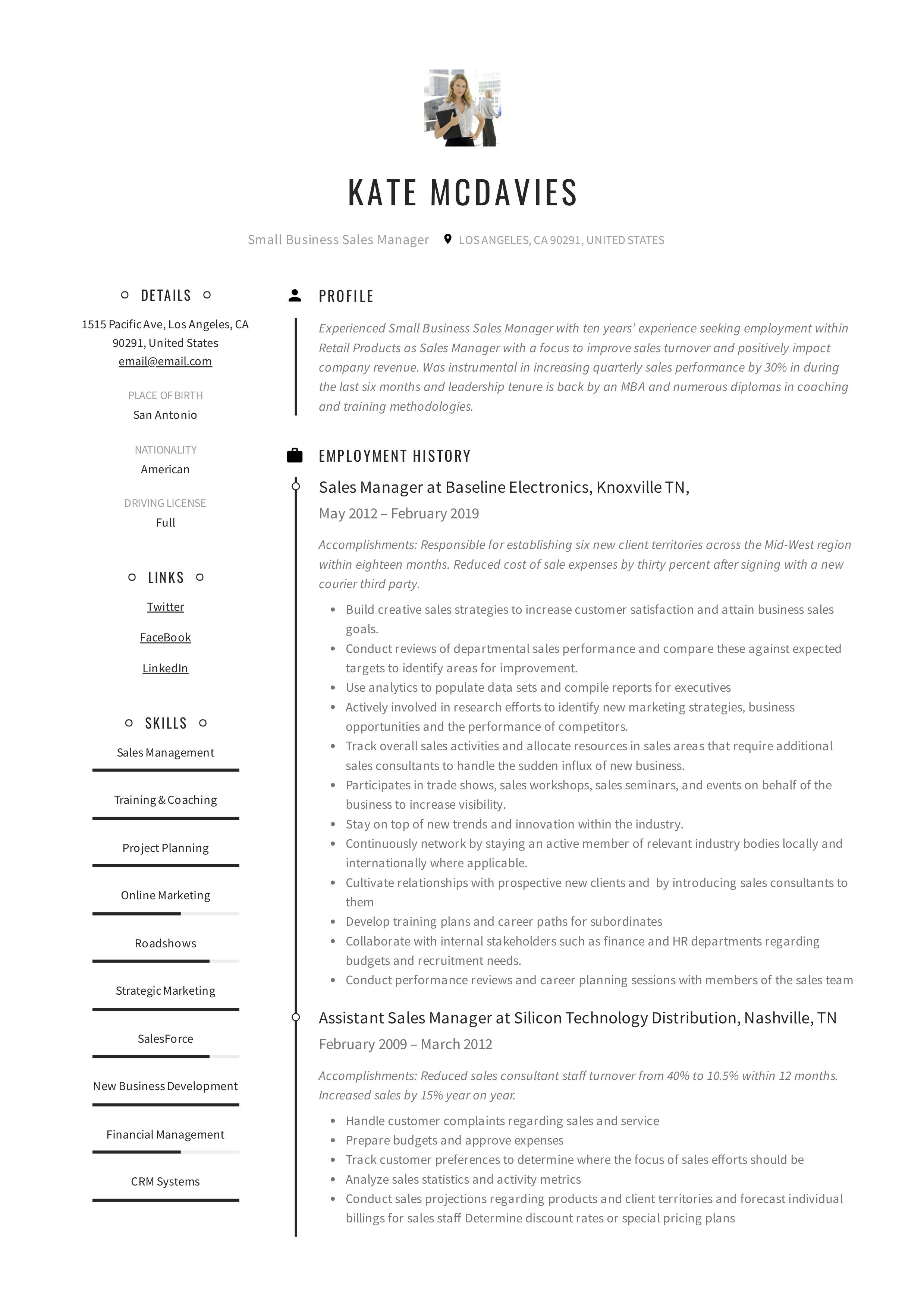 Small Business Sales Manager Resume Example In 2020 Manager Resume Creative Small Business Business Sales