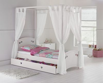 Buy Argos Home Hearts White Single 4 Poster Bed Frame Kids Beds In 2020 White Single Bed