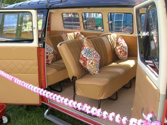 volkswagen van hippie interior. retro floral vw van volkswagen hippie interior n