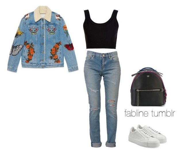 Denim On Denim by fembrimahulette on Polyvore featuring #CalvinKlein Collection, #Gucci, #YvesSaintLaurent, #JilSander and #Fendi