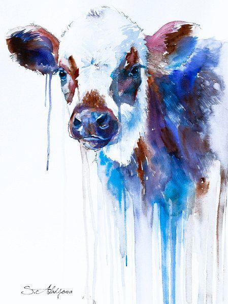 Cow watercolor painting print by Slaveika Aladjova, animal ...