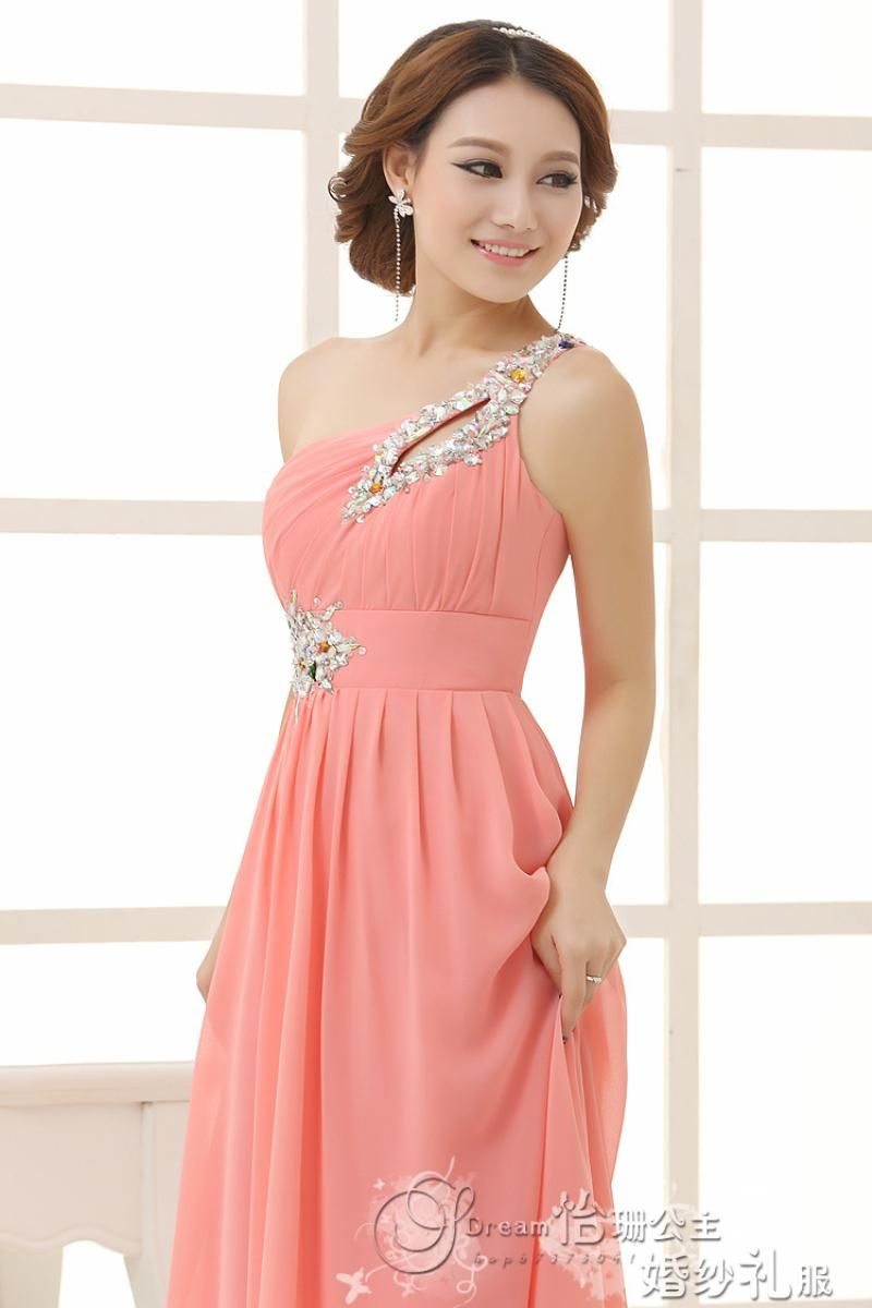 Cheap New 2016 Fashion Chiffon One Shoulder Lace Up Bridesmaid ...