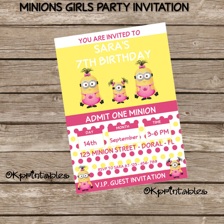 Minions Girls Birthday Party Invitation - Digital File. Personalized ...