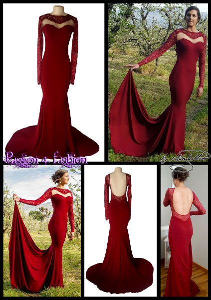 6c812f5ae1a0 Maroon soft mermaid open back matric dance dress with an illusion lace  neckline and a lace open back, lace long sleeves, with a train.