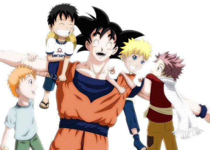 Ichigo from Bleach, Luffy from One Piece, Goku from Dragon