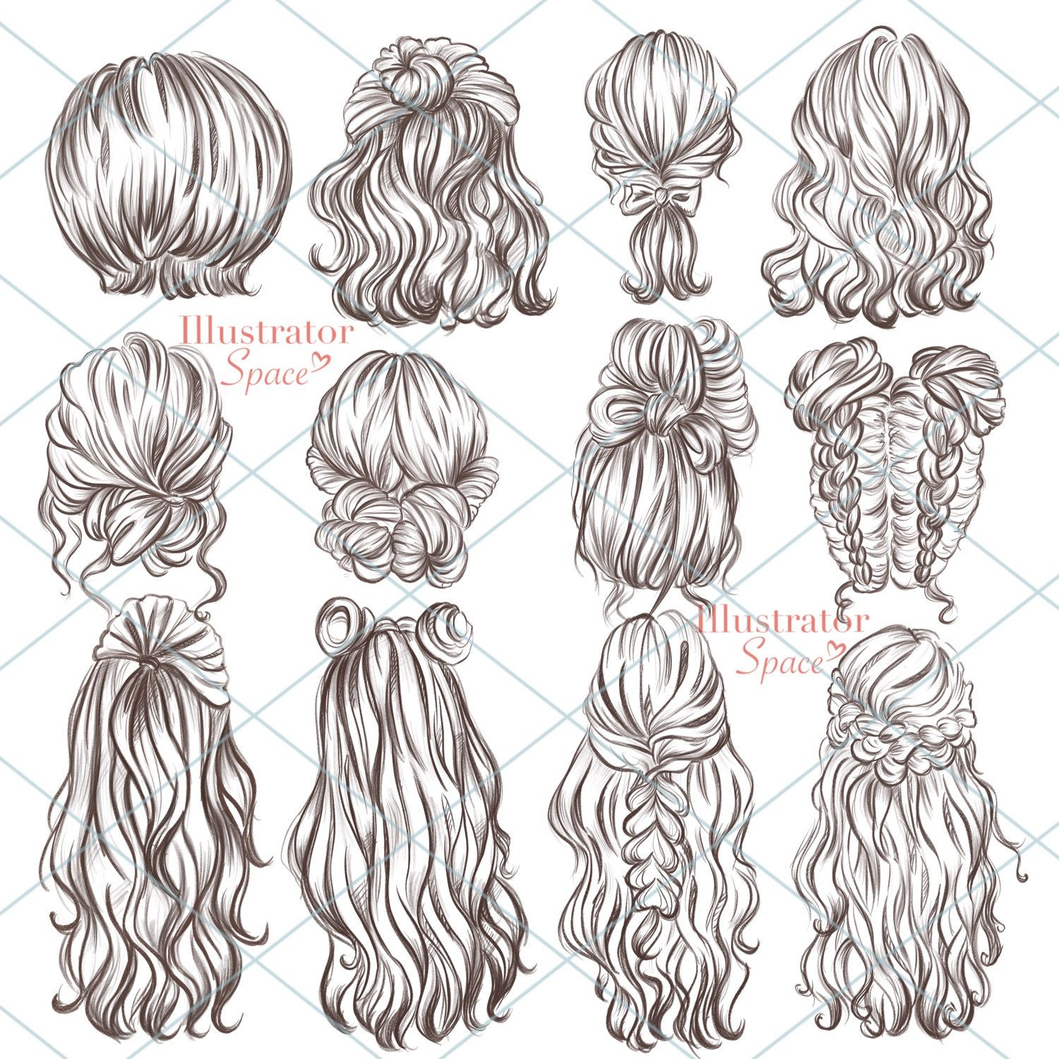 Hairstyles Clipart Hair Set Digital Download Custom Hairstyles Hair Clip Art Character Hair Fashion Girl Gift Planner Clipart 12 Png Images In 2020 Hair Sketch Hair Clipart Hair Setting