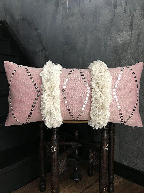 Pink Moroccan Wedding Blanket Lumbar Pillow | Boho Pillow | Tribal | Handira | Berber | Silver | Metal Coins