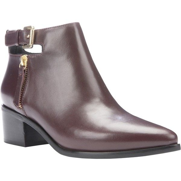 Geox Lia Block Heeled Toe Point Ankle Boots (€120) ❤ liked on Polyvore featuring shoes, boots, ankle booties, bordeaux leather, waterproof boots, ankle boots, buckle ankle boots, pointy toe boots and short boots