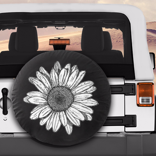 White Sunflower Flower Spare Car Tire Cover Jeep Wrangler Wheels