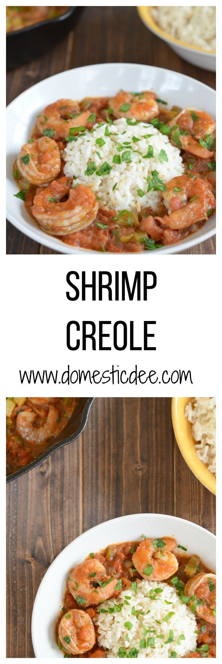 Shrimp Creole #cajunandcreolerecipes Easy Shrimp Creole Recipe- This easy shrimp creole recipe has jumbo shrimp, simmered in creole tomato sauce served over a steamy bed of rice. I www.domesticdee.com #cajunandcreolerecipes
