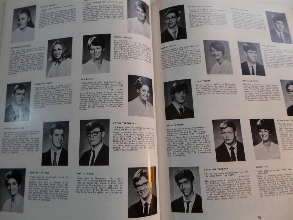 1969 Rosemount High School Montreal Quebec Original Yearbook Annual