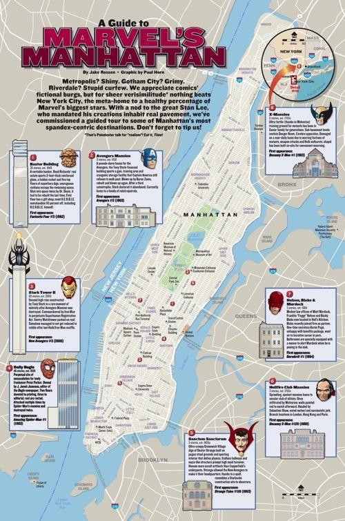 A Map Of Marvel Comics Locations In Manhattan Marvel Marvel