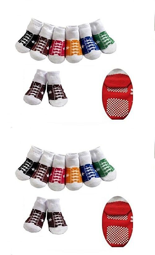 Cute 6 Pack Of Baby Boys Girls Stay On Socks Baseball Trainer Style
