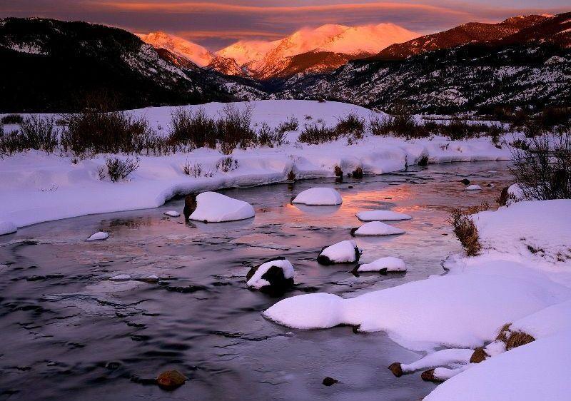 Winter Sunrise Over Big Thompson River, Rocky Mountain National Park, Colorado