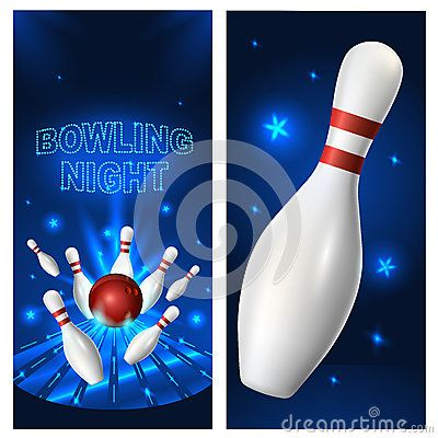 Bowling Night Flyer Template Vector Clip Art Illustration  My