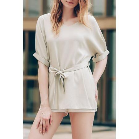 Stylish V-Neck Short Sleeve Women's Self-Tie T-Shirt