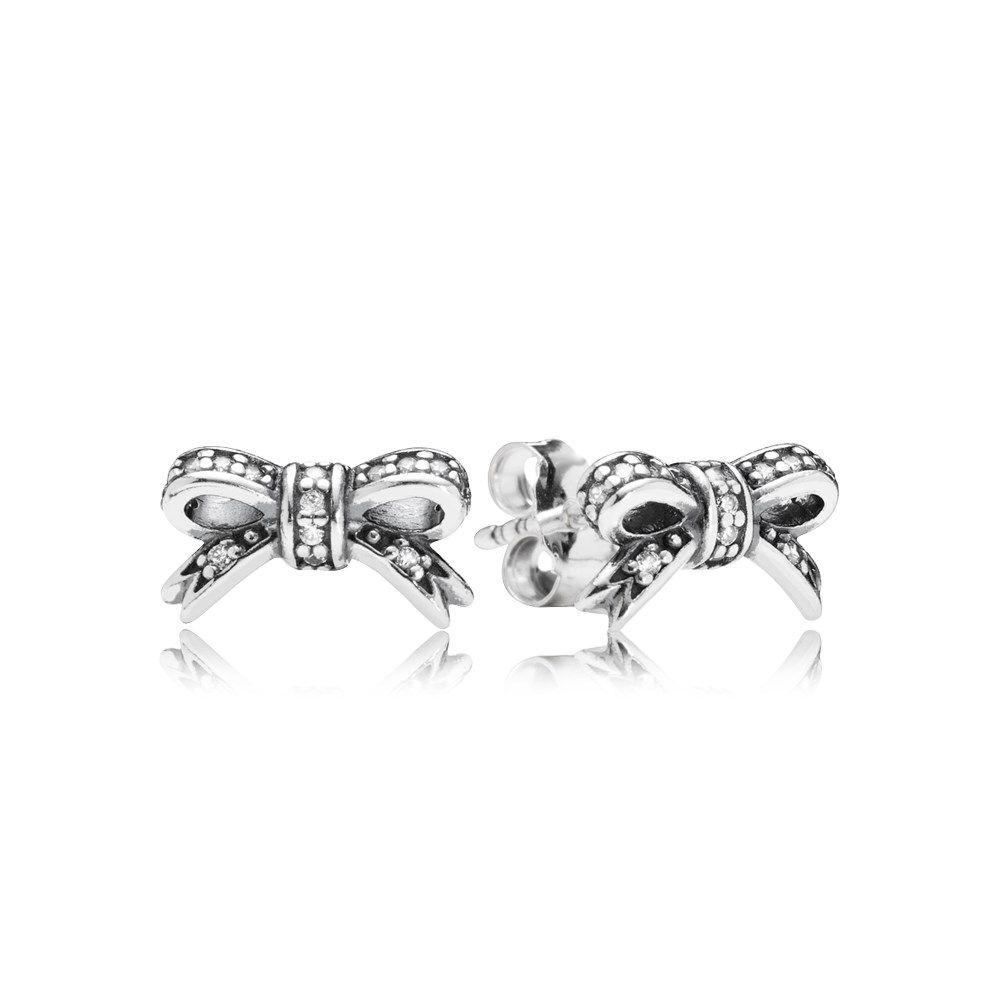 Delicate Bow Stud Earrings - 290555CZ