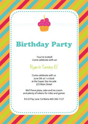 Printable Colorful Cupcake Birthday Invitation Template