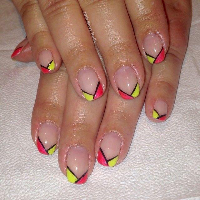 Neon french tip color blocked nails, nail art, summer ...