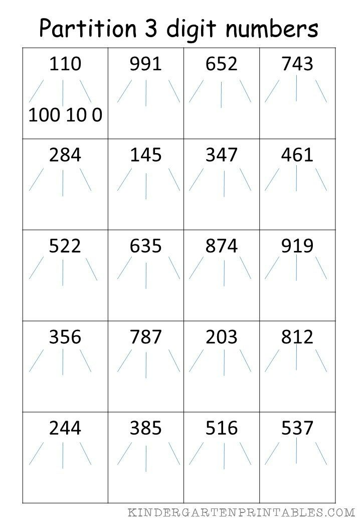 Partition 3 Digit Numbers Worksheet Kids Math Worksheets Number Worksheets Worksheets Free