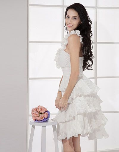 Pink Plus Size Wedding Dresses with layered ruffles knee length ...