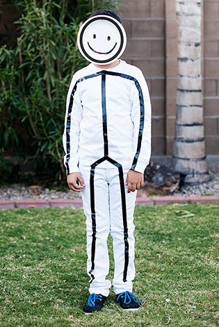 Captivating Put Together A Simple Stick Figure Costume Using White Clothing, Black  Electrical Tape And A Paper Plate!