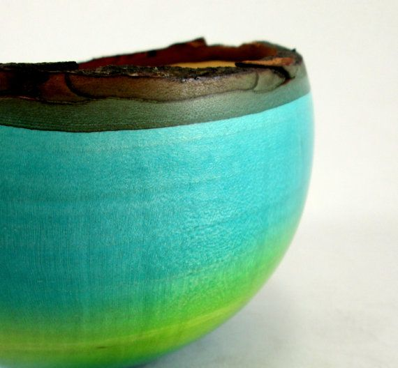 Blue and Green Maple Bowl by makye77 on Etsy