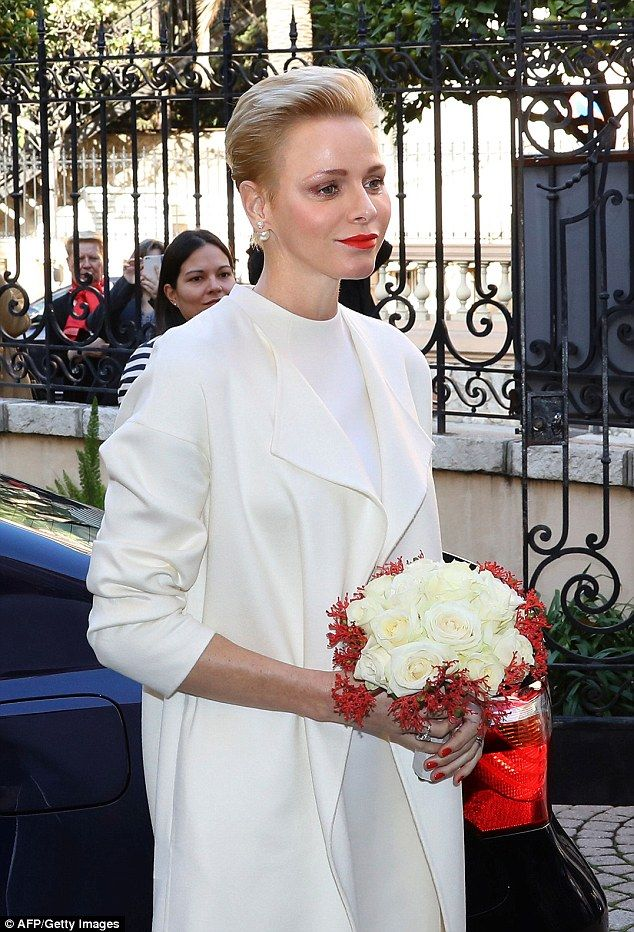 Princess Charlene of Monaco arrived at the Red Cross headquarters in Monaco before giving ...