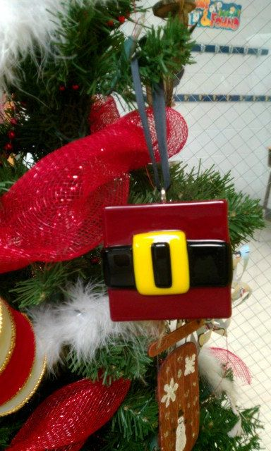 """Fused Glass Santa's Belt Christmas Ornament by TheMeltedEdge, $15. This cute Santa's belt ornament is aprox. 3""""x3""""."""