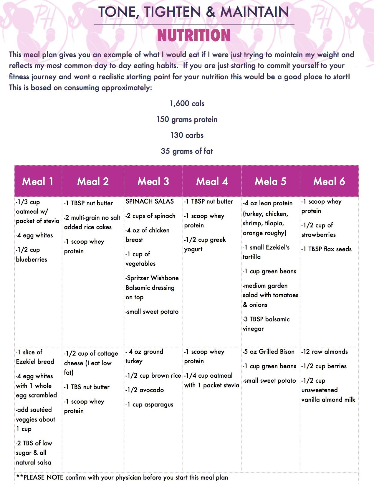 Tone And Tighten Meal Plan Jpg 1 270 1 643 Pixels How To Plan Meal Planning Health Lifestyle
