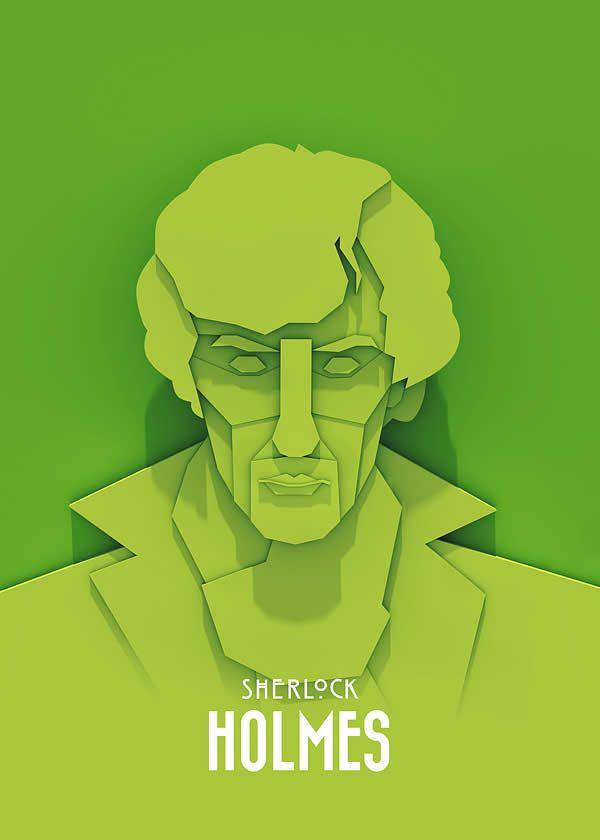 série de poster créer parAriel Ratajczak.Walter White, Tyrion Lannister et Sherlock Holmes ont été recréés en n'utilisant qu'une seule couleur pour chaque personnage