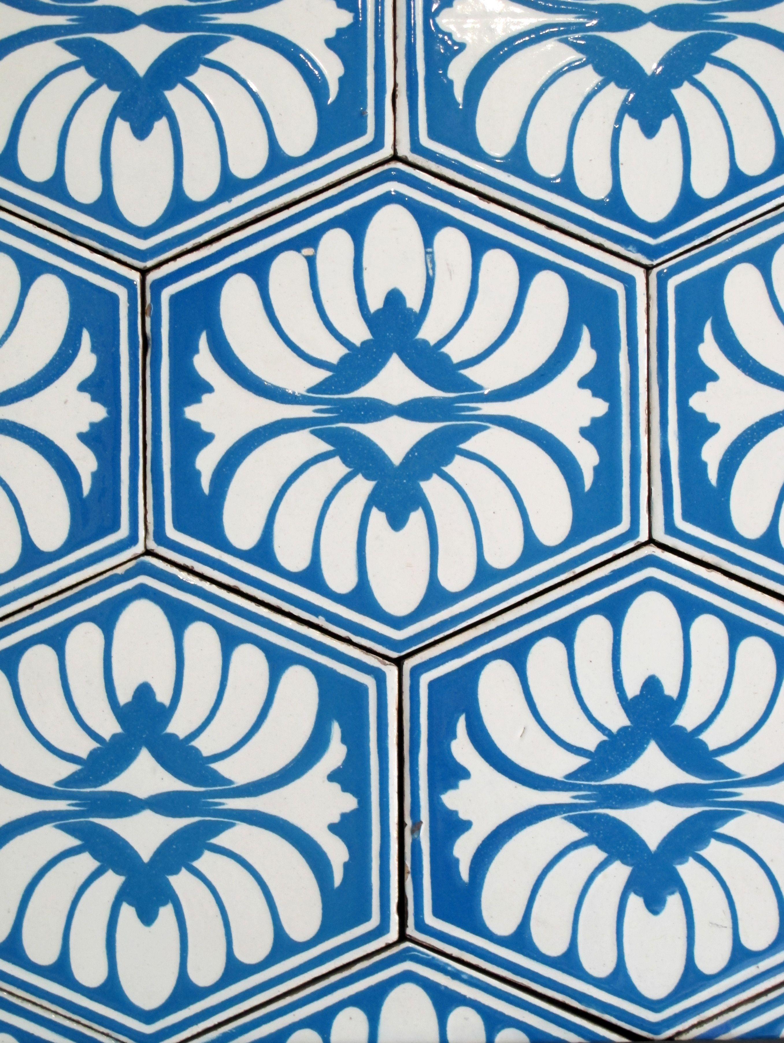 Blue tiles with flower detail.   tiles   Pinterest   Blue tiles ...