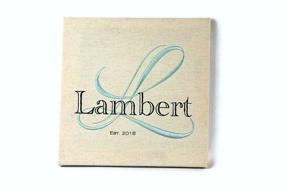 Embroidered family name monogram fine art engagement anniversary