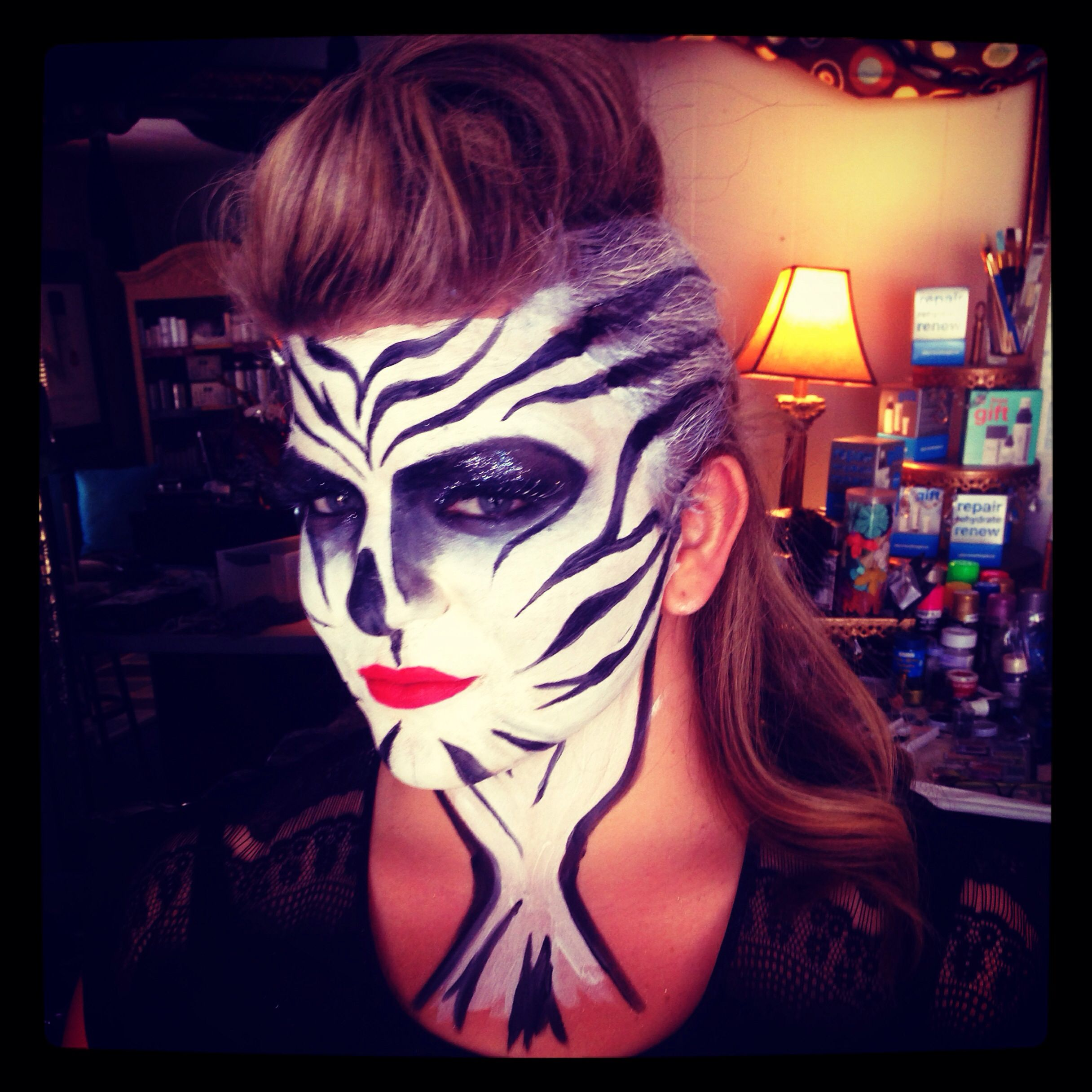 Zebra makeup jungle face Halloween makeup wild animal makeup www ...